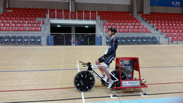 T-minus 6 days. #HourRecord is getting real. @thejensie testing/training with full kit at race pace. http://t.co/hH0dPB2Hn6