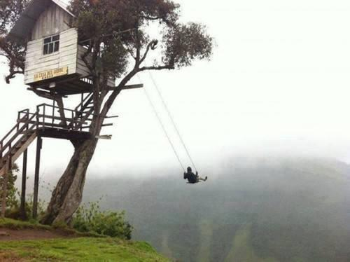 """There's a swing on the edge of a cliff. It has no safety measures and is called """"The Swing at the End of the World."""" http://t.co/ZpXCTAGXt3"""