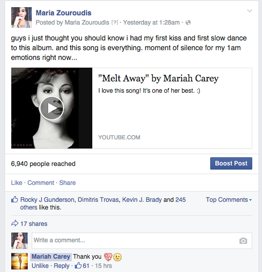 omg, the official @MariahCarey facebook page commented on my post. Fan girl inside is dieing a slow death <3 http://t.co/pHmf5wZY5p