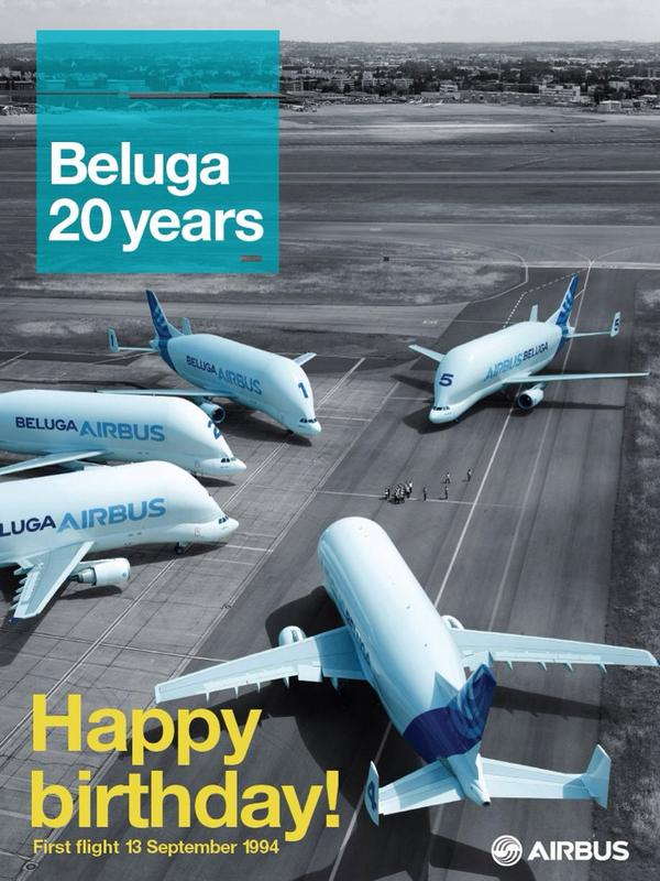 Happy birthday! The #Beluga took to the skies for the 1st time 20 years ago today #BelugaBD http://t.co/GV39bcFE7v http://t.co/o9eJULyteK