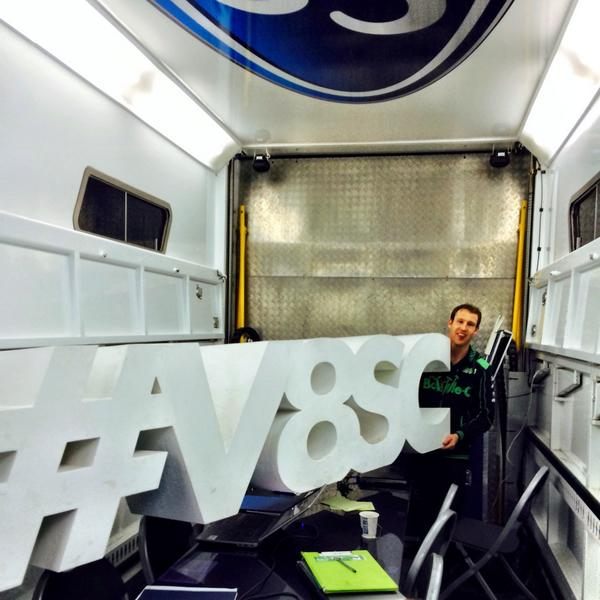 Stole the #V8SC sign, put it in the debrief truck.. Engineers weren't happy! http://t.co/mjLu1AYksE