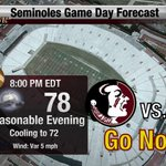 RT @FSUWeather: Heres your Final Forecast for tonights game vs Clemson. Temps falling through the 70s with light NE winds. #GoNoles http://t.co/gjgTFxW39g