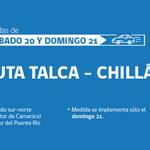 RT @mop_chile: #Ruta5Sur Talca-Chillán: Sistema 3x1 dgo 21sept. entre km 222 y 219, sur a norte, de 11 a 20hrs según flujo vehicular http://t.co/cDLCThMKkM