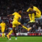 PHOTO: @FinallyMario jumps out of the way to allow @sterling31 to score for #LFC http://t.co/aGyv8nErL0
