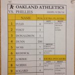 Coco-less RT @Athletics: The As lineup for todays game against the Phillies. #GreenCollar http://t.co/wJGUh2KOIm