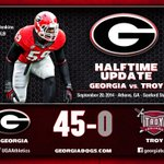 Its halftime at Sanford and the Bulldogs lead 45-0!! Dawgs get the ball to start the second half. #TROYvsUGA http://t.co/puTrVpoiDB