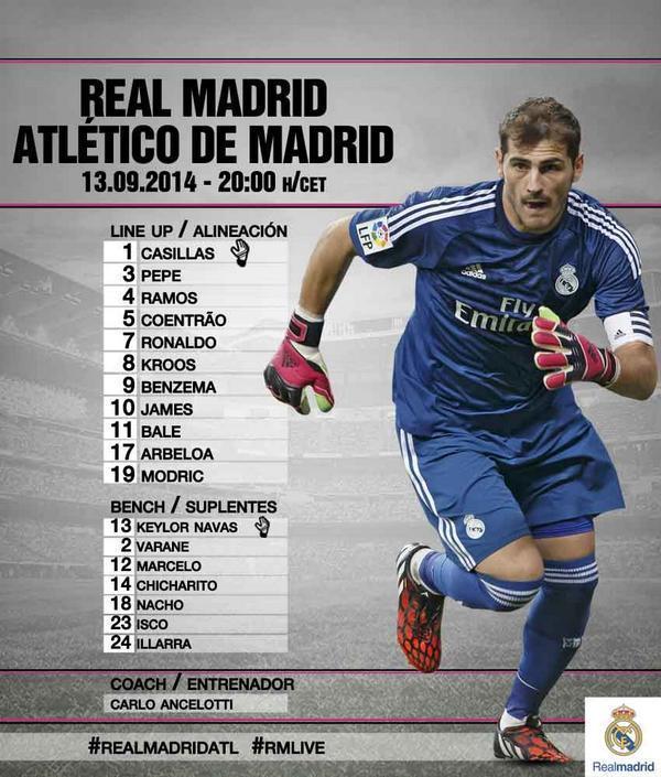 تشكيلة ريال مدريد أمام الأتليتي ..ما توقعاتك للنتيجة ؟ #صدى_الملاعب http://t.co/Y1TD7CVH9J