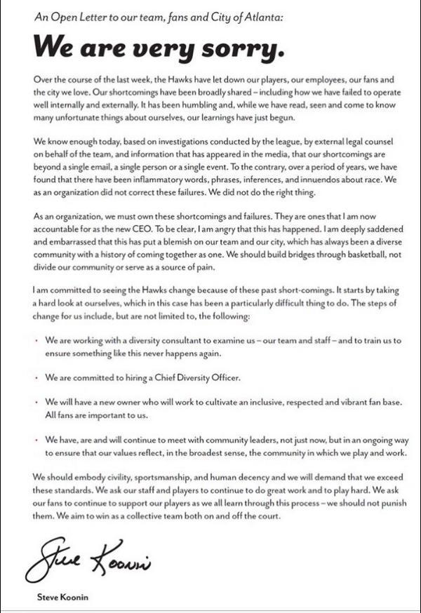 Atlanta hawks ceo writes apology letter to fans scoopnestcom