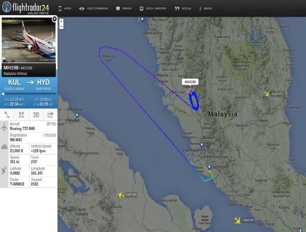 【即时】马航MH198客机,13日从吉隆坡起飞前往印度海得拉巴。但客机起不久,由于自动导航系统故障,机师为了安全决定折返。客机在空中盘旋近4小时,至燃油耗尽,14日清晨紧急降落吉隆坡机场。http://t.co/AVzmgn3Q2V http://t.co/sDdWPmAw4F