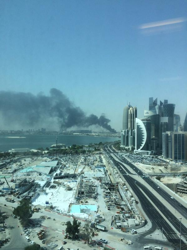 Gosh this looks terrible! Hope all are safe RT @qatarliving: View of the fire from Ooredoo building in West Bay - http://t.co/Ha3teS0CVQ