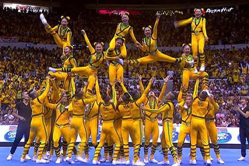 Earlier: The FEU Cheering Squad #UAAPCDC2014 http://t.co/0zSn3MuHt3