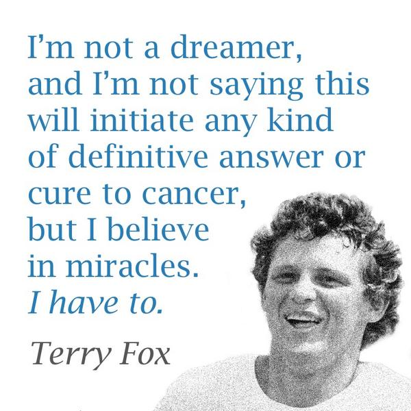 Dedicated to all those who are running, cheering, or donating towards a miracle today #terryfoxrun2014 http://t.co/VdrR8XQHsV