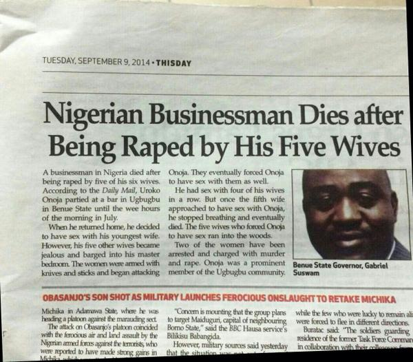 """Raped by 5 of his 6 wives..."" http://t.co/9XhzMiba9O"