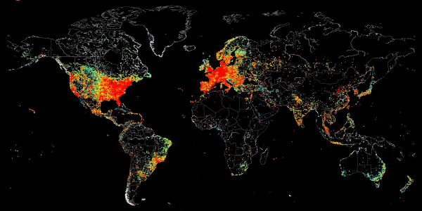 This world map shows every device connected to the internet http://t.co/6delLCyG6A http://t.co/9yJf1rtGUe