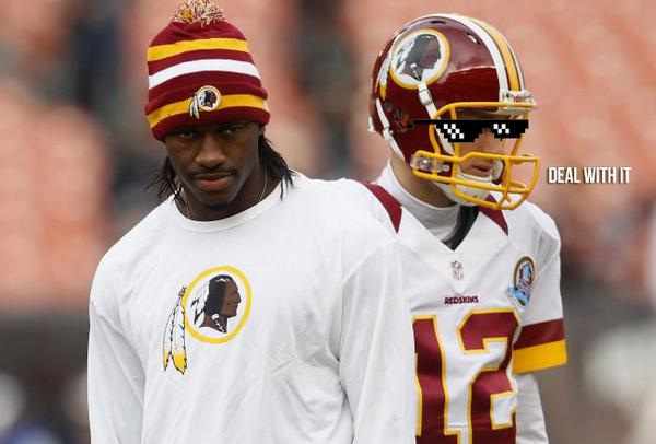 RGIII looking at Kirk Cousins like.. #stealMyGirl kirk sayin.. #DealWithIt #football http://t.co/YiUjxqYa0S