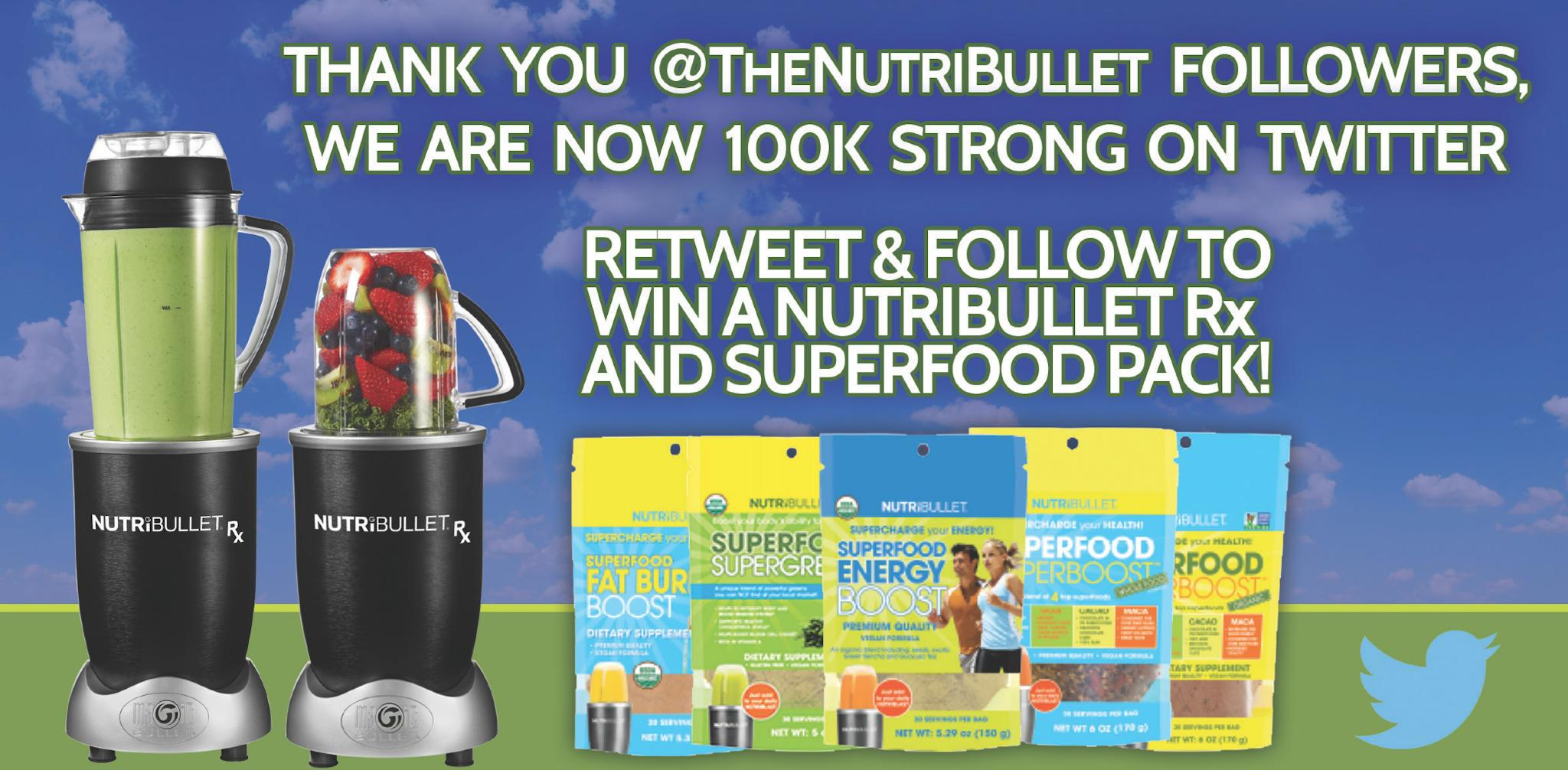RT and Follow to win a #NutriBulletRx and SuperFoods pack! Thanks for the 100k followers! http://t.co/qNeLaiYoxc
