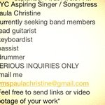 RT @Ms_PaulaC: #brooklyn #drummer #Guitarist #keyboardist #bassist #joinmyband #nyc #Vocalists http://t.co/BawfCCNesJ