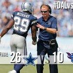 FINAL! Cowboys 26, Titans 10  Bryant: 10 catches, 103 yds receiving, TD Murray: 29 carries, 167 yds rushing, TD http://t.co/G1YsQrPjUC