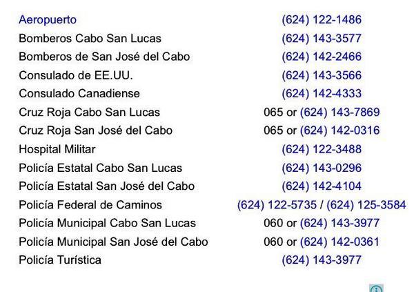 Alhinna Vargas (@AlhinnaVargas): Teléfonos de emergencia en Los Cabos. En 60-90 min. el huracán Odile estará tocando tierra en esa zona. Por favor RT. http://t.co/OjnrpCzNui
