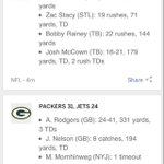 Check out the statline from the #NYJvsGB game. @nyjets OC Marty Mornhinweg cracks the statline. http://t.co/QKl2dMQkTr