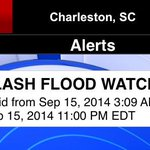 Flash Flood Watch in effect in Lowcountry. You can get alerts by downloading weather app. Text APP to 84355 #chsnews http://t.co/dXPu1MOHlm