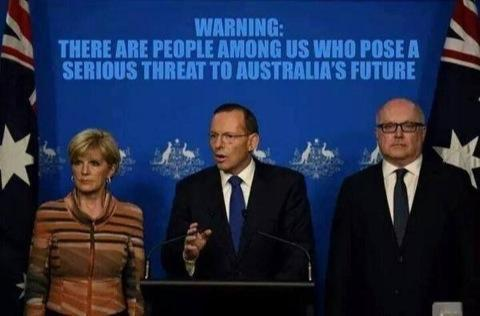 """So not a single member of @TonyAbbottMHR media team saw this backdrop and thought, """"Oh maybe not a good idea""""? #fail http://t.co/eX1E7mXdJC"""