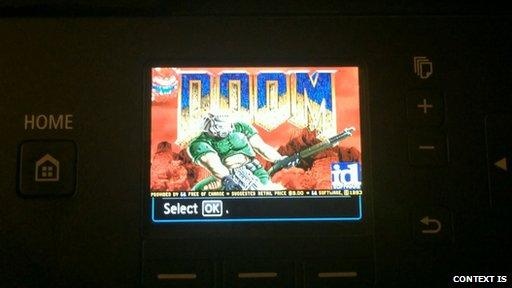 A researcher has found a loophole that means he can install Doom... on a Canon printer!  http://t.co/XOqj36ivrZ http://t.co/CLWJpLqxcg