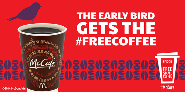 The perks of being a morning person. Enjoy #FreeCoffee during breakfast 'til 9/29! http://t.co/k9F7p1Y0Ds
