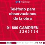 Si tienes alguna observación o consulta referente a la obra @MegaDrenaje puedes llamar al 01 800 CAMDREN http://t.co/miVdMIgRoL