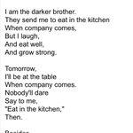 "RT @FieryNupes: #ITooSingAmeriKa the Poem by Langston Hughes! http://t.co/FzJk7XUmnV"""""