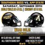 RT @USMGoldenEagles: Pack #TheRock this Saturday at 6 p.m. for @SouthernMissFB vs. App State! For tickets, visit http://t.co/MPbgN3Vlzn http://t.co/0ph2Qt6sGF