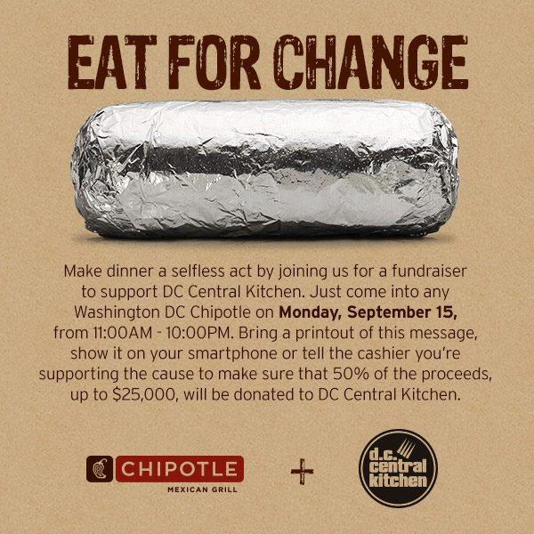 TODAY ONLY visit any Chipotle in Washington, DC and 50% of proceeds, up to $25,000, will benefit @dcck! http://t.co/JxyPylL025