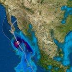 Representación gráfica de Odile sobre Baja California Sur. Vientos de hasta 202 km/h #EvitemosDesgraciasJuntos http://t.co/RoM8WvTs4a