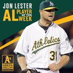 RT @Athletics: Congrats to @JLester31 for being named AL Player of the Week! #GreenCollar http://t.co/0B04dCJIYZ