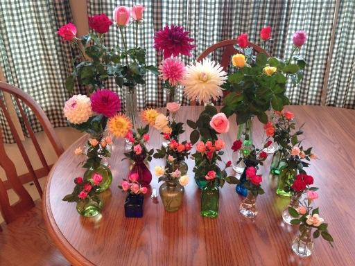 A table full of flowers from my garden to brighten a gloomy day at a local medical facility. #gardenchat http://t.co/qz3VHS3FVj