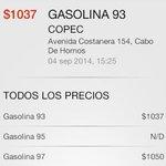 RT @Oscar_Espana_B: Preocupados porque alza de $15 dejaria bencina sobre los $1000.- ? En Magallanes ya es una realidad HOY (FOTOS) #puq http://t.co/rn1Z34AFtf