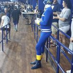 """""""@620wdae: Guess whos at the game tonight? #Rays http://t.co/ScbOoKPi4l"""" #Rays Blue Power Ranger(though the helmet looks like Red style)"""