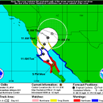 "Actualización 17:00 horas del pronóstico de evolución y trayectoria de ""Odile"" que sigue como Huracán sobre La Baja http://t.co/VYyPZQD3XV"