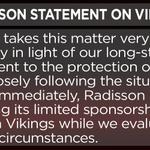 JUST IN: Vikings sponsor Radisson releases statement regarding sponsorship of the NFL team. http://t.co/cXHCxL1DWV