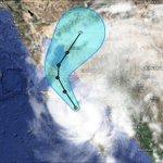 Pronóstico de trayectoria de la tormenta tropical #Odile, incluyendo su cono de incertidumbre. http://t.co/snpdYmHyvB