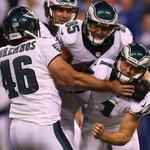 Eagles Cody Parkey celebrates game winning field goal over Colts. #Eagles #Colts #NFL #MondayNightFootball http://t.co/w0ZsBZdIr7