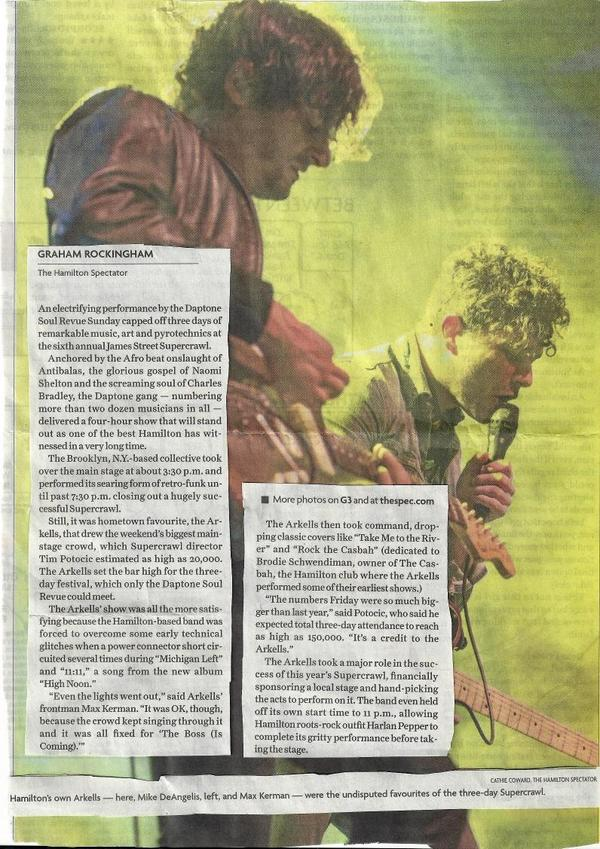 The shout out @supercrawl from @arkellsmusic meant alot, & it did for my dad too who cut out the article #ProudMonty http://t.co/uhFPP7K9IU