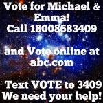 RT @EmmaSlaterDance: West coast! Pls show my partner @mw55 some love & vote 4 him now for his Cha Cha on @DancingABC ???? only 60 mins left! http://t.co/QXmtPBeu2O
