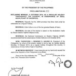 RT @noynoyaquino: [Adm-02] Proclamation 875 declaring October 6, 2014 as a Regular Holiday throughout PH in observance of Eidul Adha. http://t.co/NCU2k3IgNk
