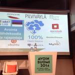 @kyyberi esittelee #pilviväylä-työtä. Järjestelmän toteutus on 100% avoin, sekä koodi että prosessi #avoin2014 http://t.co/eAlvKmnov4