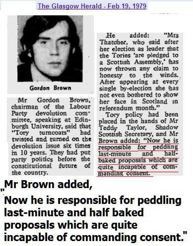 "Gordon Brown's comments in the 1979 devolution debate on ""last minute, half baked proposals""  Sounds familiar Gordon. http://t.co/VUfiLTWghm"