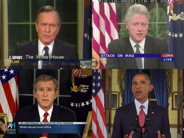 Obama becomes fourth president in a row to go on prime-time TV and announce Iraq bombings  http://t.co/pKDdv5Mn3f http://t.co/qtz4X7dVya