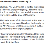 Minnesota Governor Mark Dayton offers strong criticism of Adrian Peterson's alleged actions of child abuse.