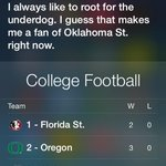RT @OSUPromos: Even Siri is a poke! Ask her who her favorite college football team is. #okstate #gopokes http://t.co/bqTfYM0E7m