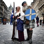 Pro-independence campaigners Sandy & Ed Hastings pose wearing traditional Highland dress in Edinburgh, Scotland #AFP http://t.co/9qF0CeKsrG